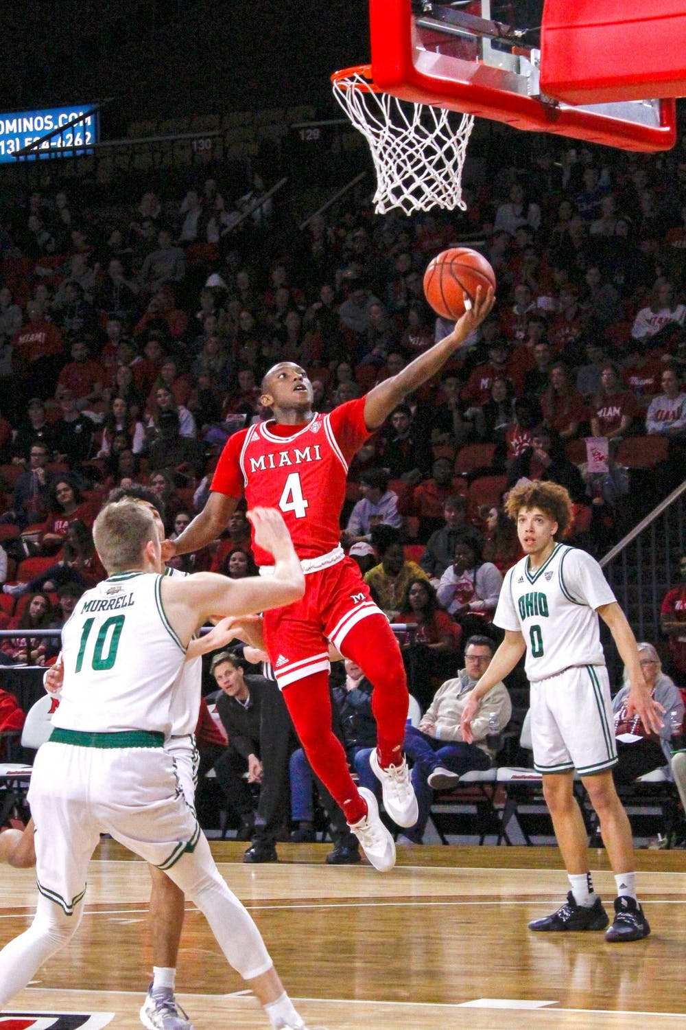 <p>Isaiah Coleman-Lands attempts a layup in a 67-65 loss to Ohio March 6 at Millett Hall. Coleman-Lands was Miami&#x27;s second-leading scorer against Buffalo in the first round of the MAC Tournament March 9.</p>