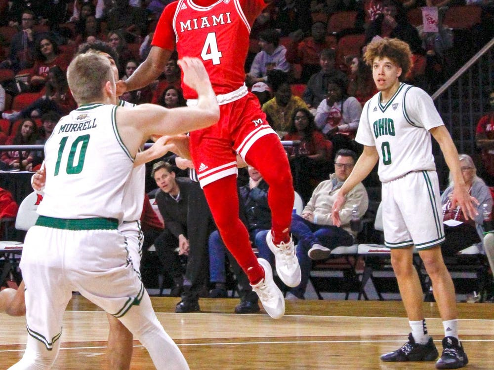 Isaiah Coleman-Lands attempts a layup in a 67-65 loss to Ohio March 6 at Millett Hall. Coleman-Lands was Miami's second-leading scorer against Buffalo in the first round of the MAC Tournament March 9.