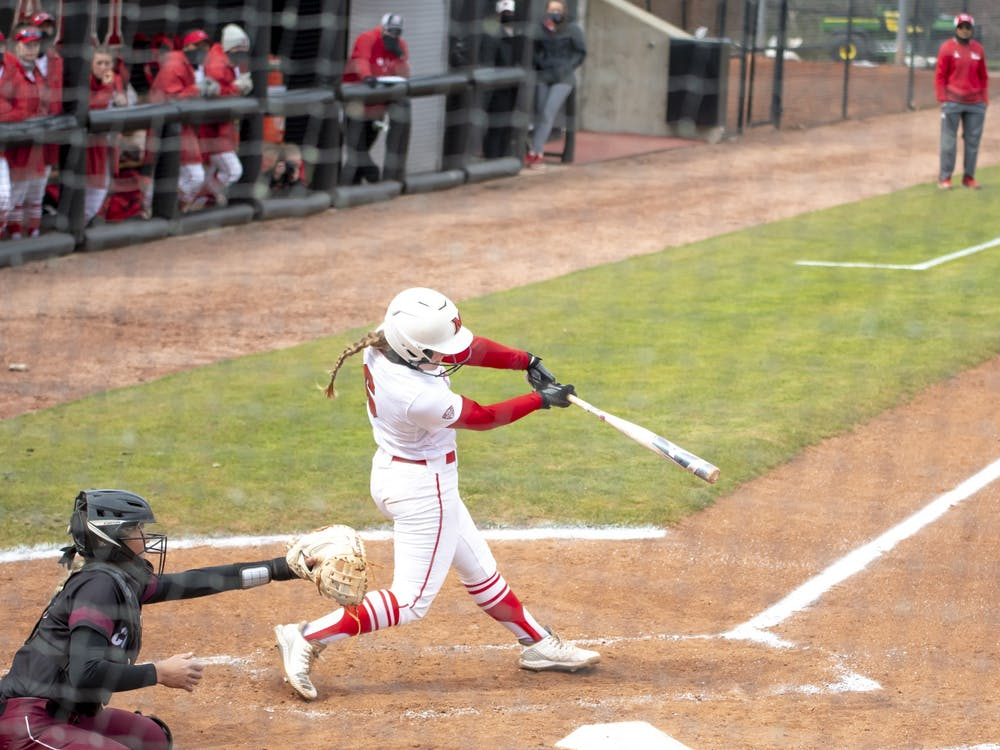 Junior infielder Adriana Barlow gets ahold of a pitch during Wednesday's 15-2 win over Western Kentucky.