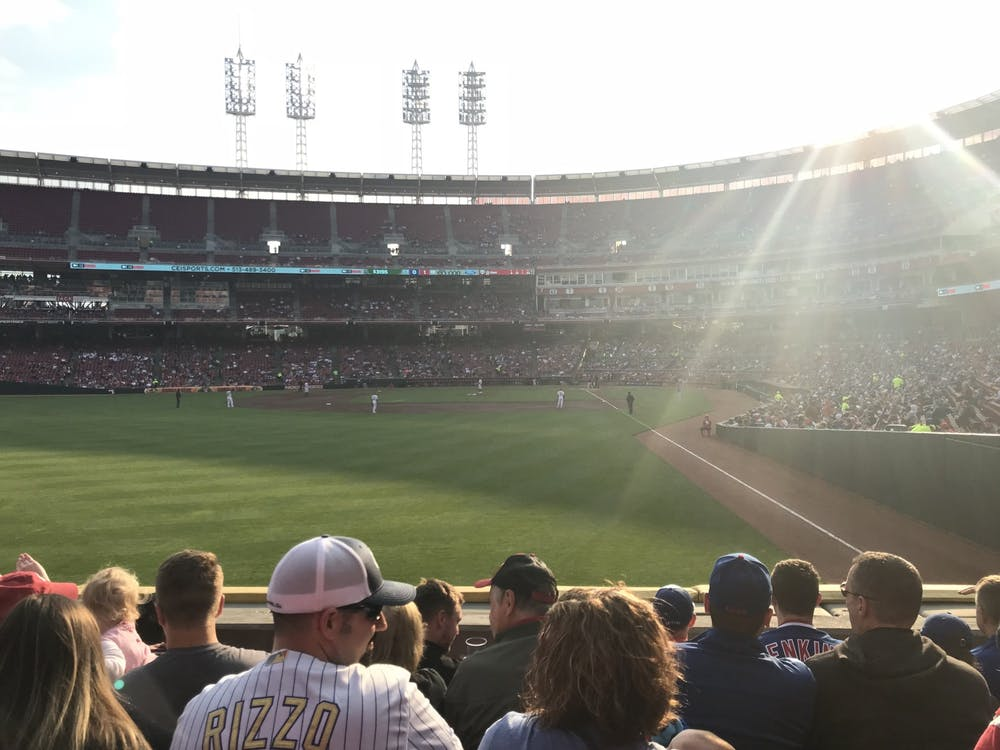The Cincinnati Reds lead the Chicago Cubs, 1-0, in the top of the second inning May 15, 2019, at Great American Ball Park. The Reds eventually won, 6-5, on a Yasiel Puig walk-off single.