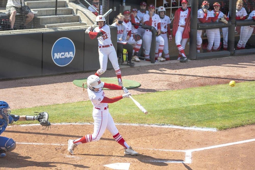 <p>Junior infielder Adriana Barlow blasts a home run during last weekend&#x27;s series vs Buffalo.</p>