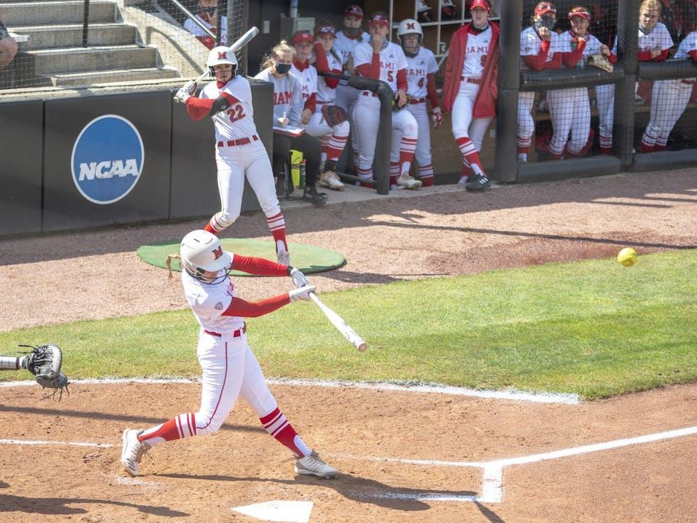 Junior infielder Adriana Barlow blasts a home run during last weekend's series vs Buffalo.