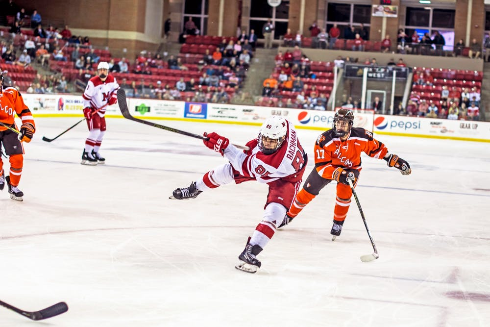 <p>Karch Bachman, a senior, was robbed of his last few playoff games as a college hockey player by the NCAA&#x27;s coronavirus-induced cancellations.</p>