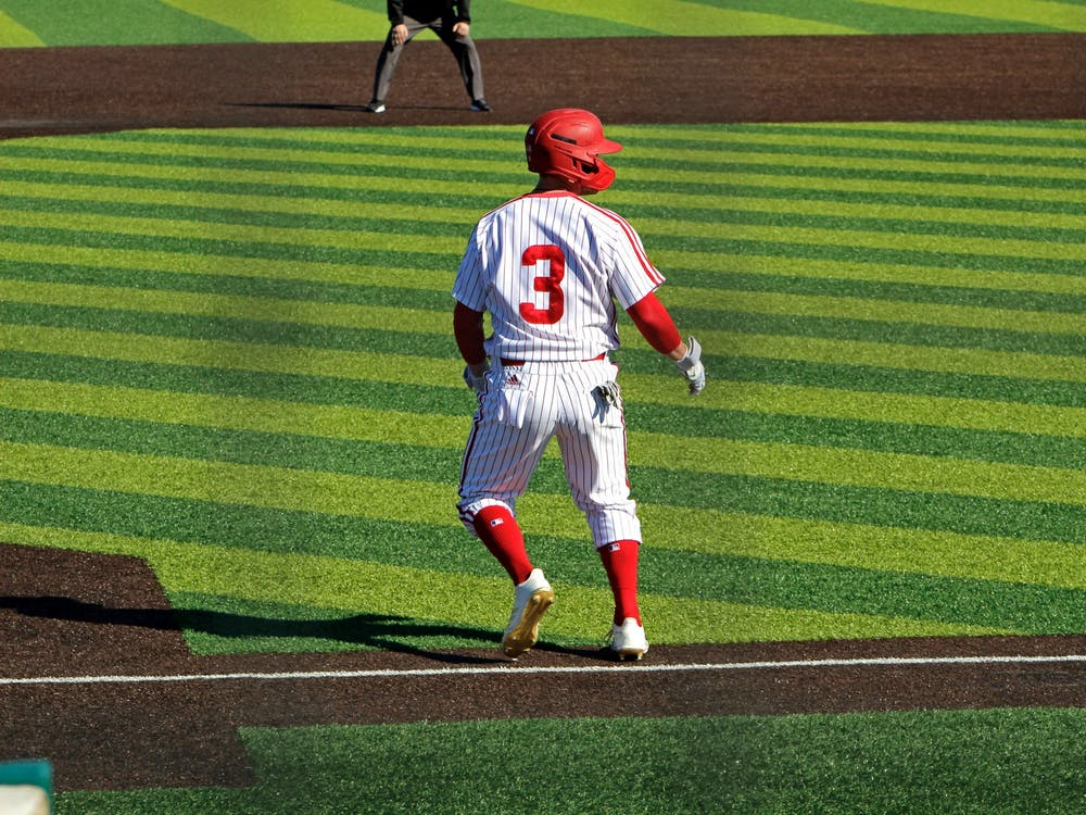 Charlie Harrigan inches off third base against Milwaukee. The RedHawks swept the series between March 7-8.