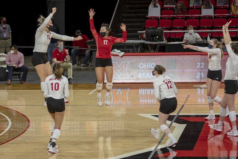 <p>The RedHawks are replacing key players like Sarah Wojick (left, no. 14), Abigail Huser (in red) and Morgan Seaman (middle, no. 12)</p>