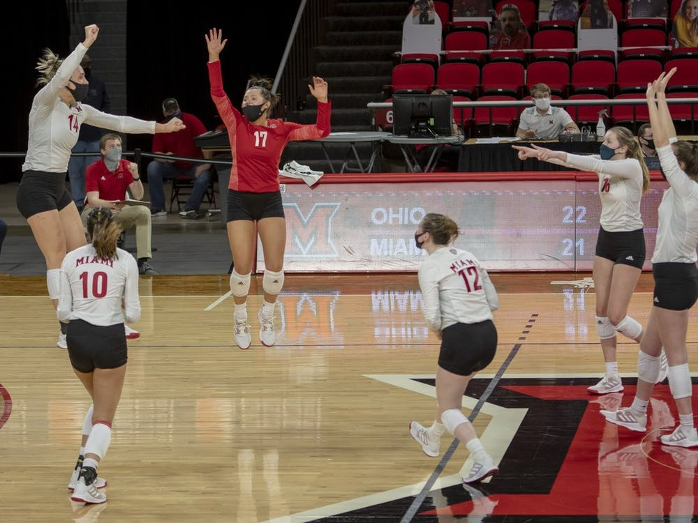 The RedHawks are replacing key players like Sarah Wojick (left, no. 14), Abigail Huser (in red) and Morgan Seaman (middle, no. 12)