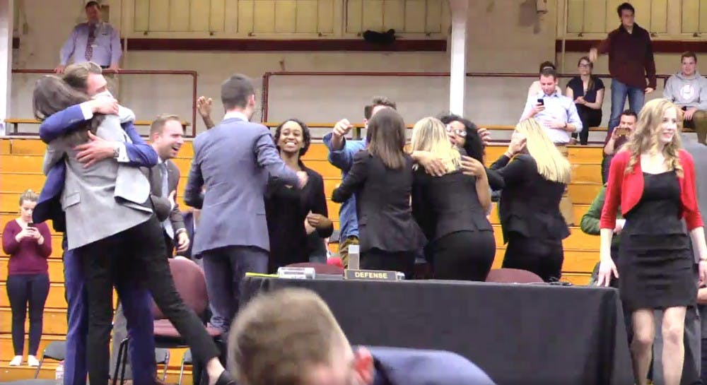 Miami's Mock Trial celebrates their first place win.