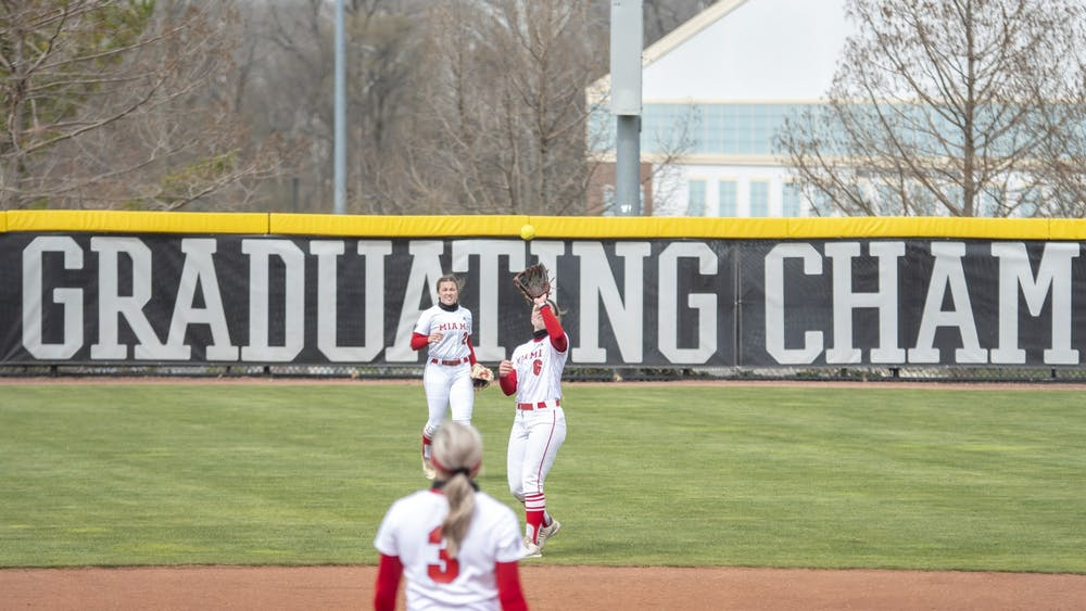 Junior shortstop Adriana Barlow settles under a fly ball during a March 31 doubleheader vs. Eastern Kentucky.