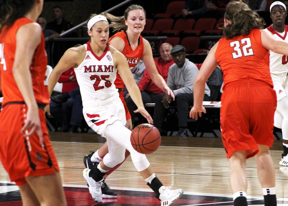 <p>Freshman Peyton Scott has impressed people around Miami&#x27;s women&#x27;s basketball program with her production and her possession of the &quot;it&quot; factor.</p>