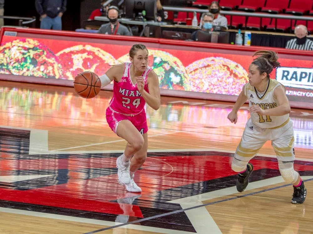 Sophomore guard Peyton Scott (pictured) scored 31 points in Wednesday's loss to Central Michigan, becoming the first RedHawk to score 30 or more points in three consecutive games.