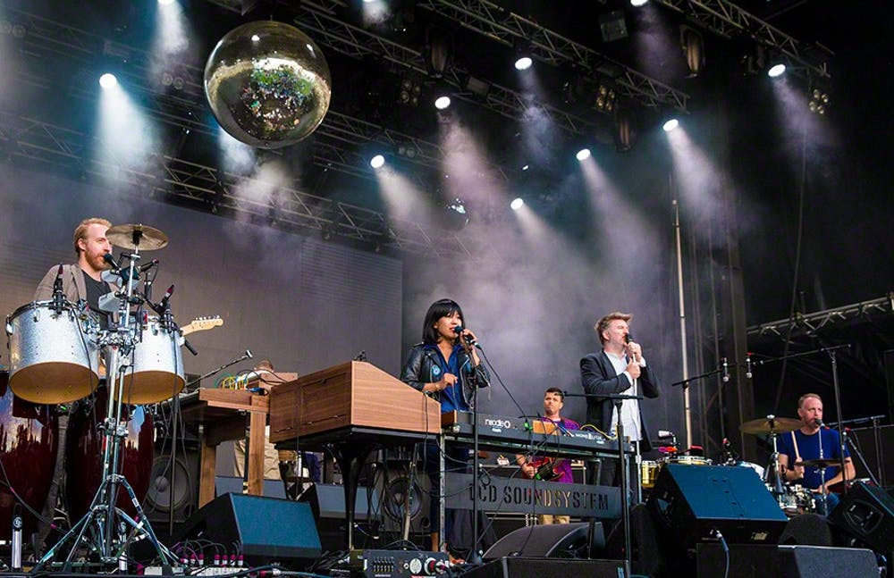 LCD Soundsystem performs at Q25 Jubileumsfesten in Kristiansand on 28. June 2016.    Lineup: James Murphy (vocal) Nancy Whang (keyboard) and more..