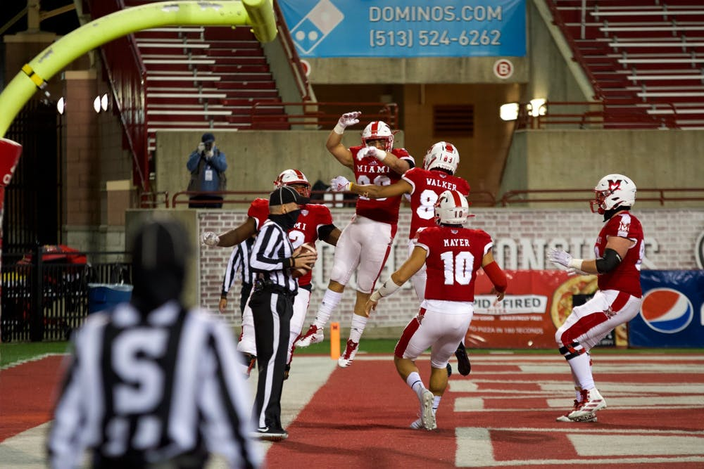 <p>The Miami RedHawks celebrate their first touchdown of the 2020 season against Ball State Nov. 4 at Yager Stadium.</p>