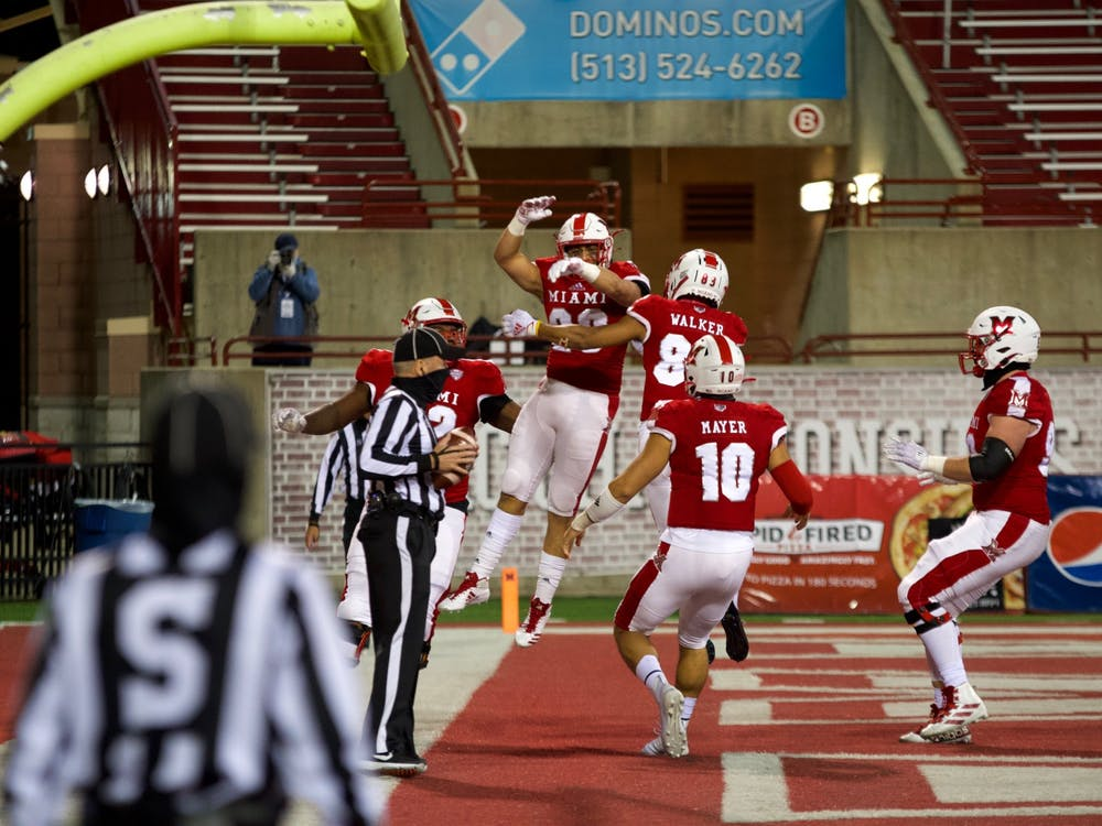 The Miami RedHawks celebrate their first touchdown of the 2020 season against Ball State Nov. 4 at Yager Stadium.