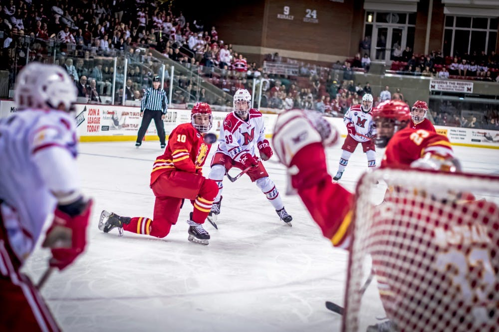 <p>Junior forward Casey Gilling shoots against Ferris State on Oct. 19 at the Goggin Ice Center. Miami lost, 3-1.</p>