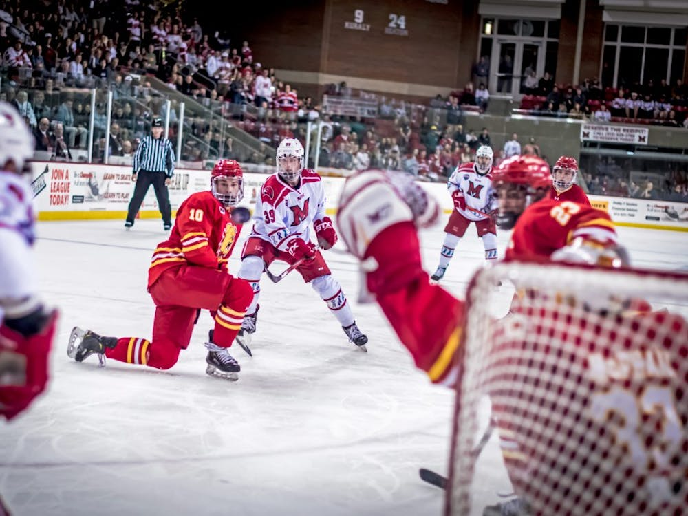 Junior forward Casey Gilling shoots against Ferris State on Oct. 19 at the Goggin Ice Center. Miami lost, 3-1.