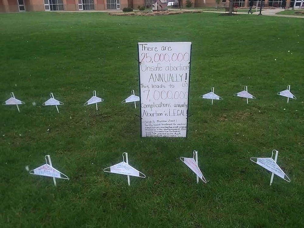 The pro-choice display on Hamilton's campus.