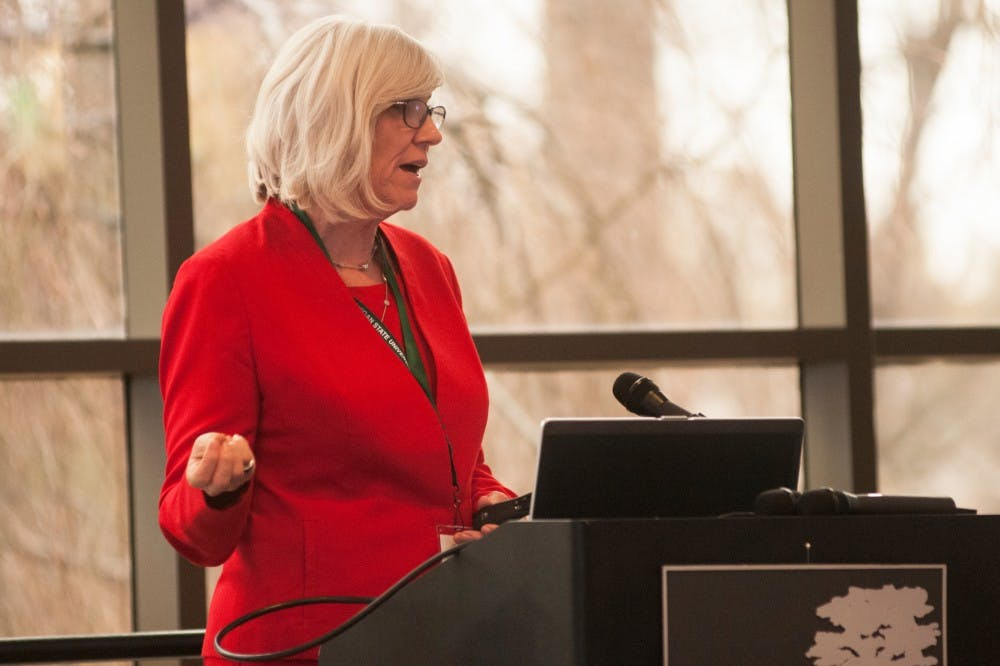 Fisheries and wildlife professor Joan Rose talks  on April 5, 2016 at the Kellogg Center. Rose was recently recognized as the 2016 recipient of the Stockholm Water Prize.