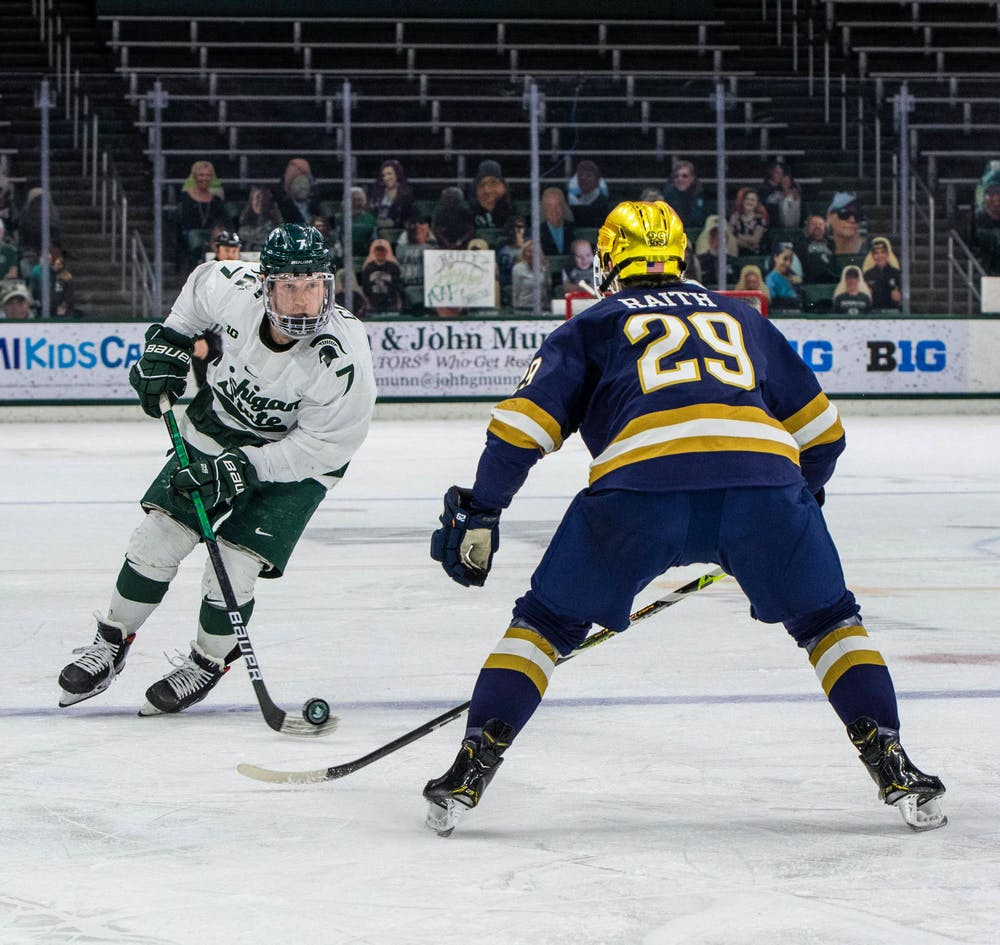 <p>Graduate student Charlie Combs (7) stares down a Notre Dame defender in the first period. The Fighting Irish shut out the Spartans, 2-0, on Feb. 27, 2021.</p>