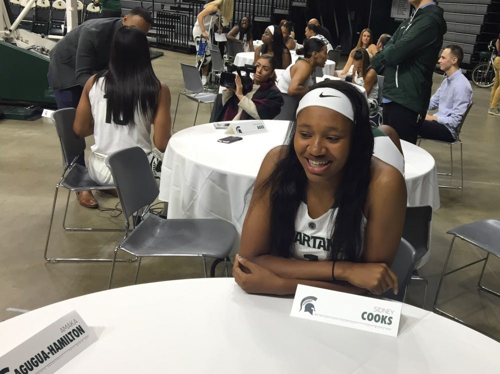 Sidney Cooks answers questions at MSU's women's basketball media day.