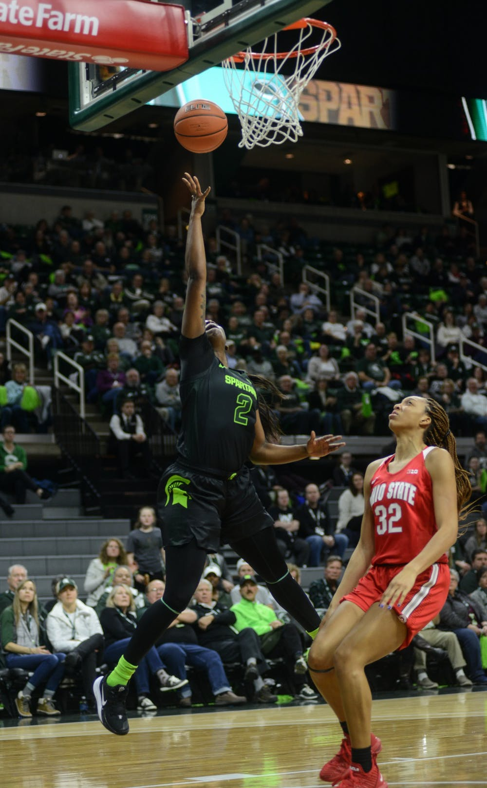 <p>Mardrekia Cook (2) scores for MSU during the game against Ohio State on Jan. 16, 2020 at Breslin Center.</p>