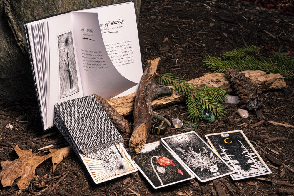 <p>Tarot cards and gemstones photographed with the essence of nature surrounding them. Professor Mark Waddell is bringing back a class called HST 293: Witches, Demons, and the Occult, which will focus on alchemy, astrology and overall history of witchcraft in Europe. </p>