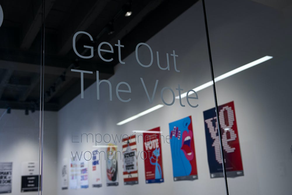 """The MSU Union Art Gallery presents the """"2020 Get Out the Vote: Empowering the Women's Vote"""" poster gallery located on the second floor. The gallery celebrates 100 years since women gained the right to vote. Shot on Oct. 21, 2020."""