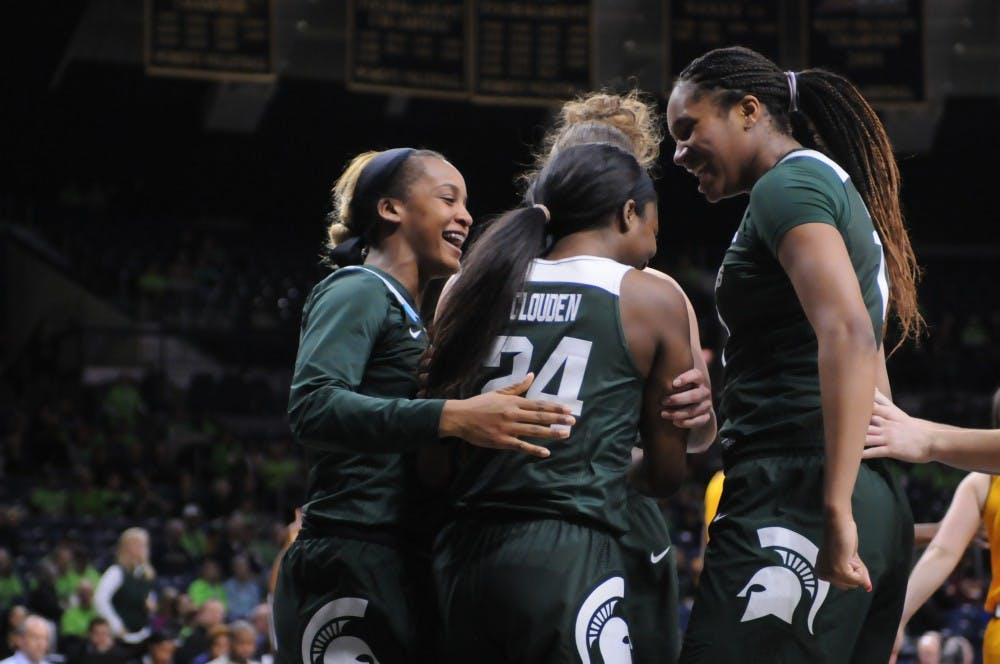 <p>MSU women&#x27;s basketball celebrates during 88-87 victory over Central Michigan in the first round of the 2019 NCAA tournament</p>