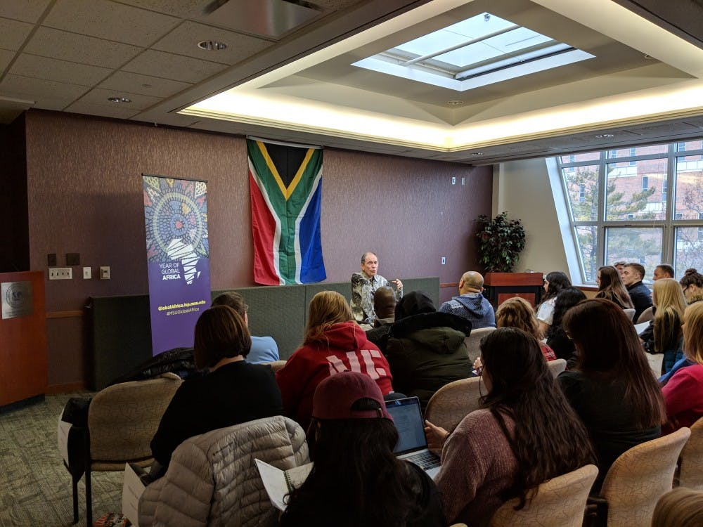 "<p>Retired Constitutional Court of South Africa Justice Albert ""Albie"" Sachs speaks to MSU students and faculty at the first ""Eye on Africa"" event of the semester.&nbsp;</p>"