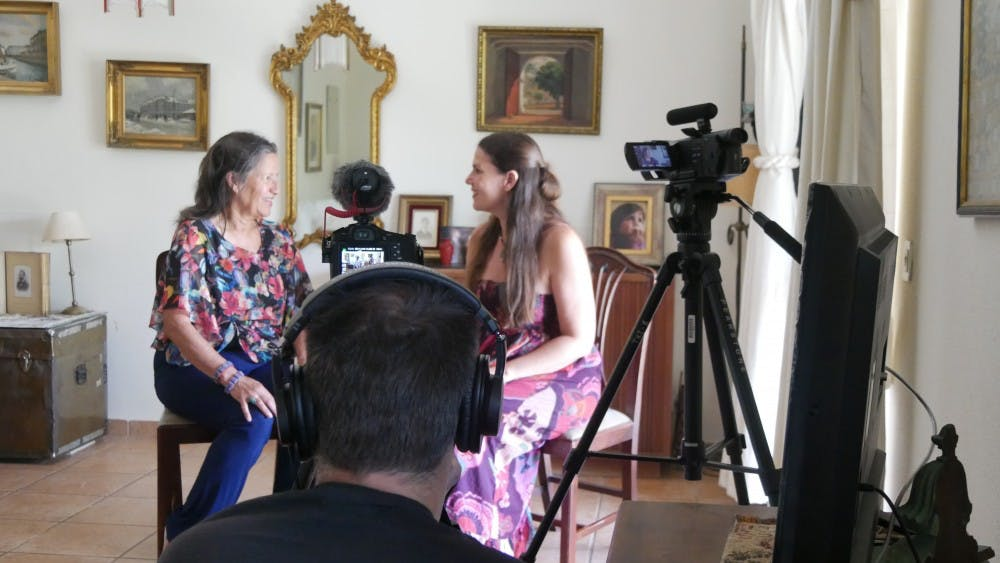 "<p>MSU College of Arts and Letters assistant professor and filmmaker Alexandra Hidalgo interviews her aunt, Jenny Berghaeger, for her in-production documentary ""The Weeping Season."" Photo courtesy of Alexandra Hidalgo<br> </p>"