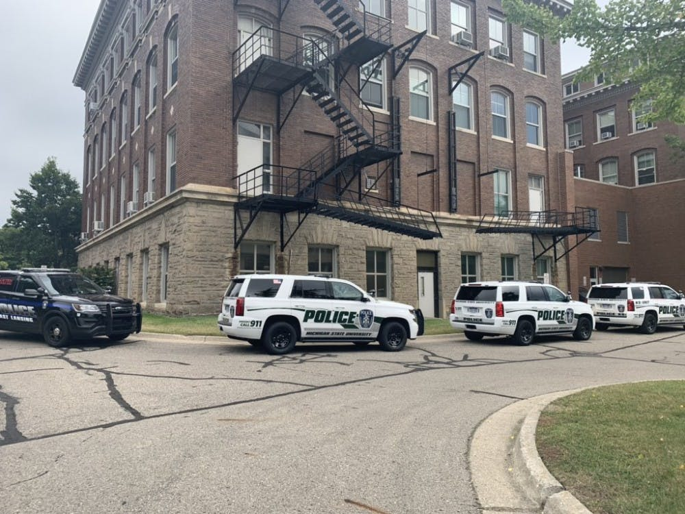 MSU Police parked near the Hannah Administration Building. The building was evacuated around 11 a.m. on Sept. 6, 2019.