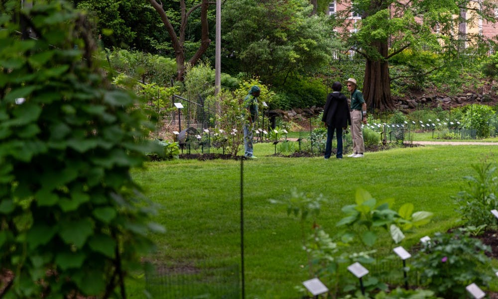 <p>A botanist guides a visitor through the W.J. Beal Botanical Gardens during the 25th anniversary of Lansing's Be a Tourist in Your Own Town on June 1, 2019.</p>
