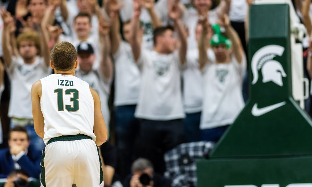 <p>Son of coach, Tom Izzo, and freshman guard Steven Izzo shoots a free throw against Albion. The Spartans defeated the Britons, 85-50, on Oct. 29, 2019 at the Breslin Student Events Center.</p>
