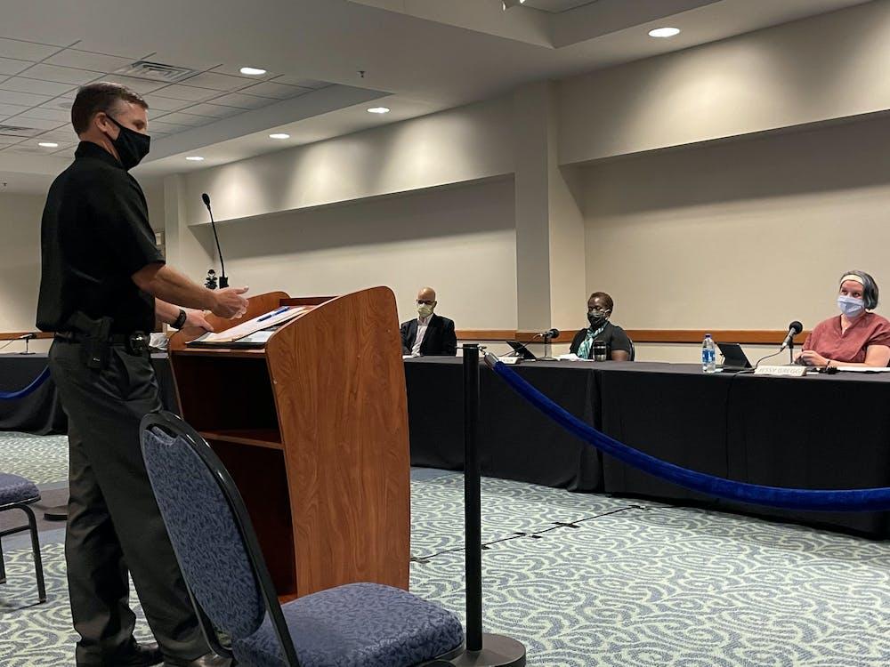 <p>Ingham County Sheriff Scott Wriggelsworth addresses the East Lansing City Council Sept. 14 regarding Ingham County Prosecutor Carol Siemon&#x27;s new felony firearm policy. </p>