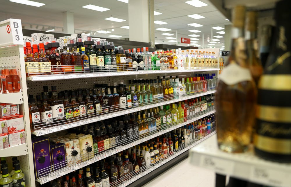 <p>March 14 - East Lansing - The alcohol aisle at the Target on Grand River. </p>