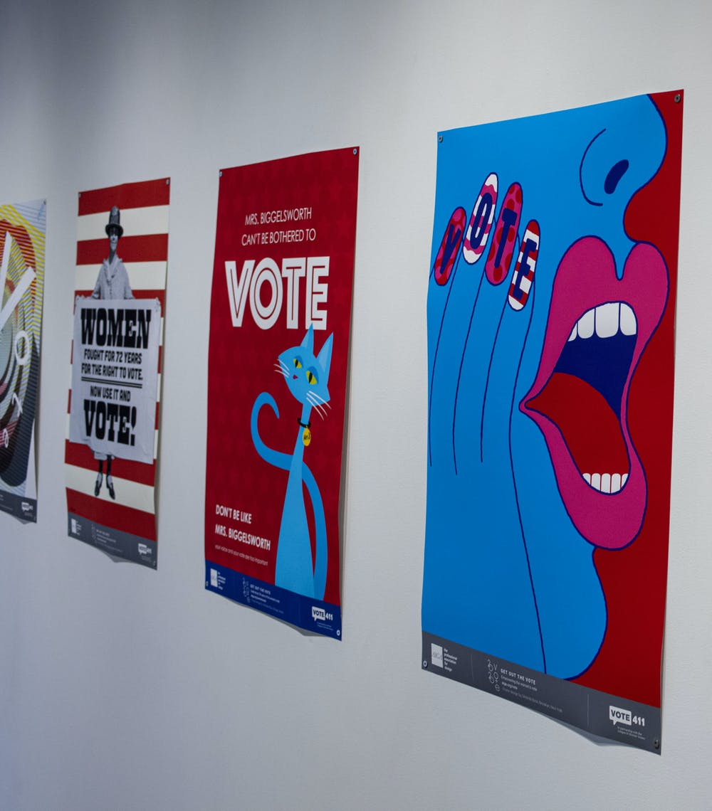 "The MSU Union Art Gallery presents the ""2020 Get Out the Vote: Empowering the Women's Vote"" poster gallery located on the second floor. The gallery celebrates 100 years since women gained the right to vote. Shot on Oct. 21, 2020."