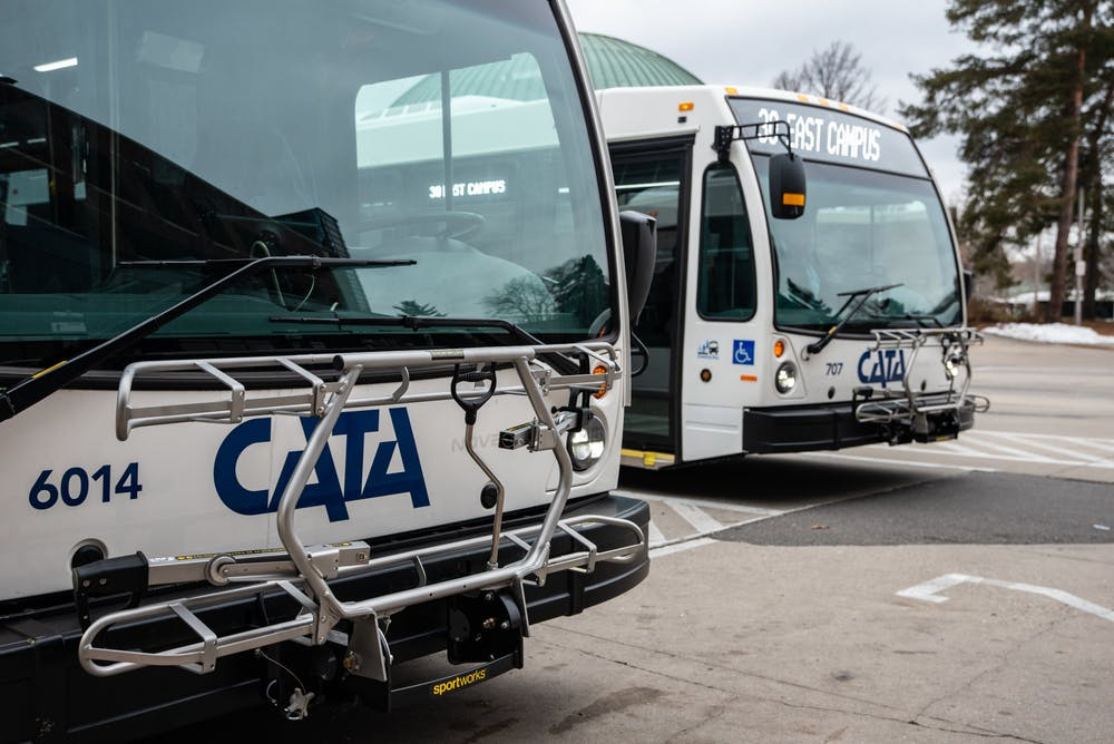 A Cata bus pulls into the Cata Transportation Center on Jan. 29, 2020.