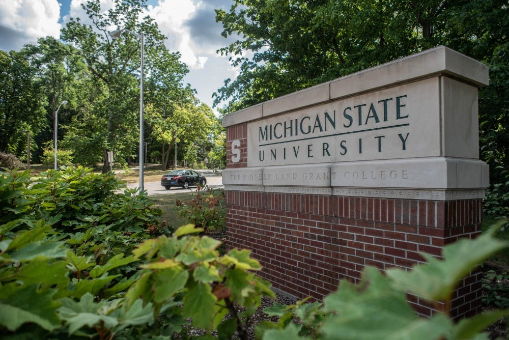 A Michigan State University sign on Beal Street on Aug. 23, 2019.