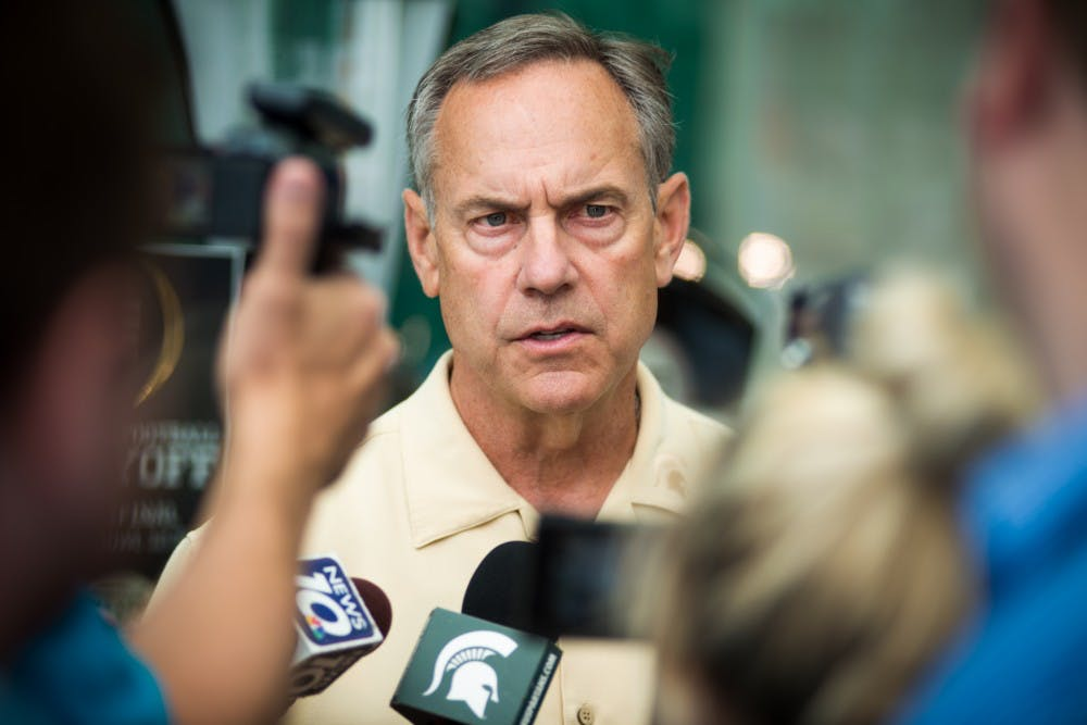 <p>Head coach Mark Dantonio speaks on June 13, 2017 at Skandalaris Football Center. Coaches and players were made available for questioning by the press.</p>