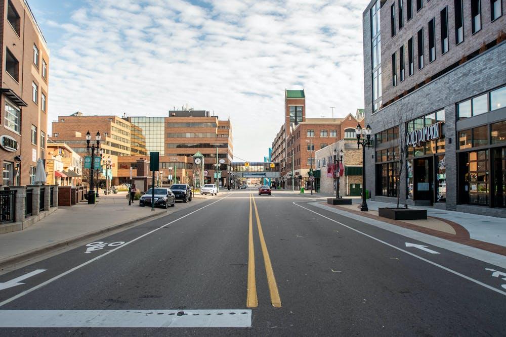 Downtown East Lansing on Nov. 20, 2020.