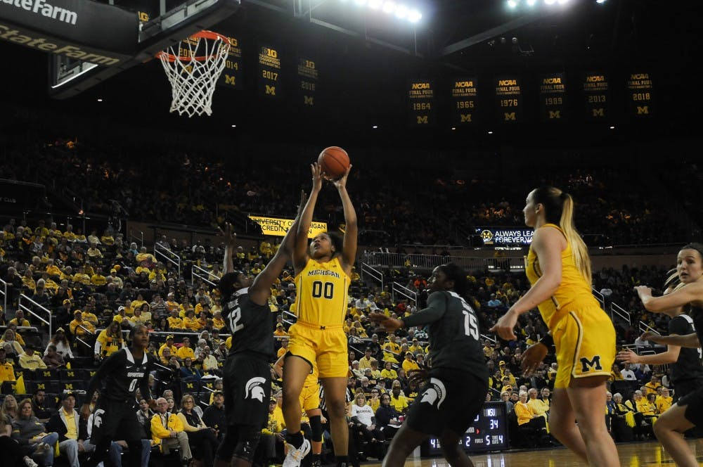 <p>Freshman forward Naz Hillmon (00) goes go a lay-up on Jan. 27, 2019 at the Crisler Arena. The Spartans would defeat the Wolverines 77-73.</p>