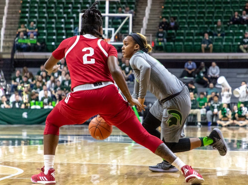 <p>Redshirt junior guard Shay Colley (0) drives to the basket during the game against Indiana Feb.11, 2019. The Spartans defeated the Hoosiers 77-61.</p>