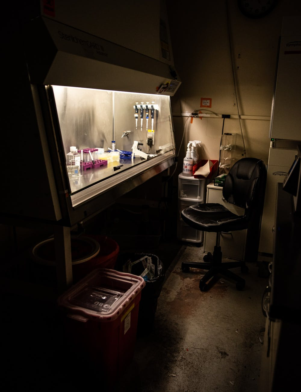 <p>Photos taken inside a biochemistry research lab on March 15, 2020.</p>