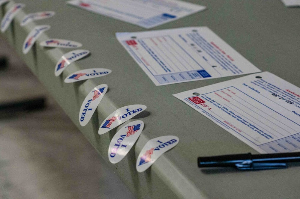 "<p>""I Voted"" stickers available at Murphy Elementary School on Aug. 7, 2018.</p>"