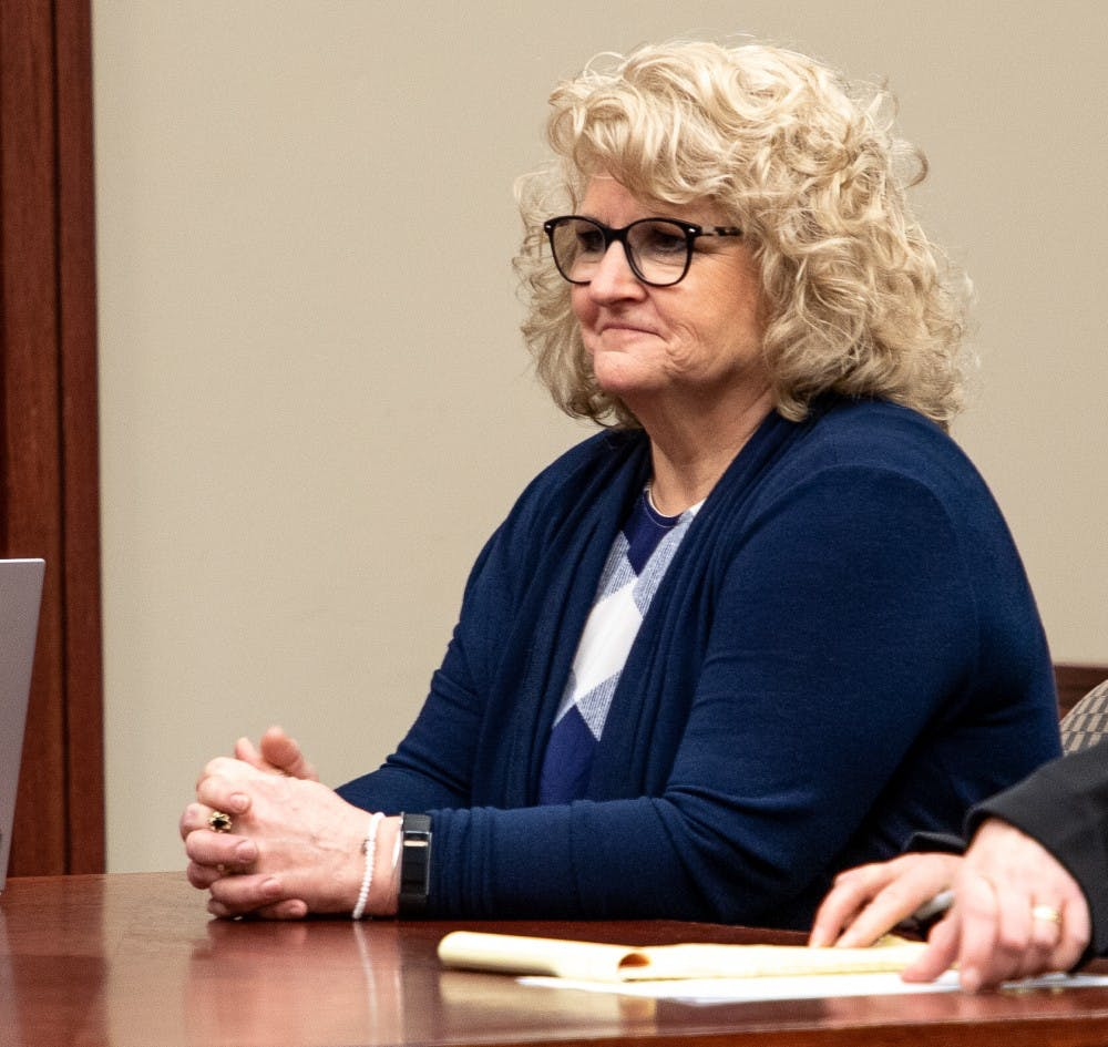 Ex-MSU gymnastics coach Kathie Klages during a status update on March.14, 2019 at Ingham County Circuit Court.