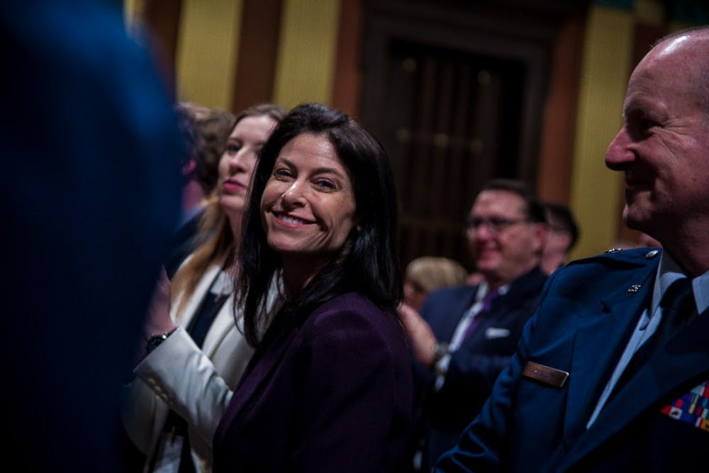 <p>Michigan Attorney General Dana Nessel smiles during the State of the State address on Feb. 12, 2019 at the Capitol in Lansing.</p>