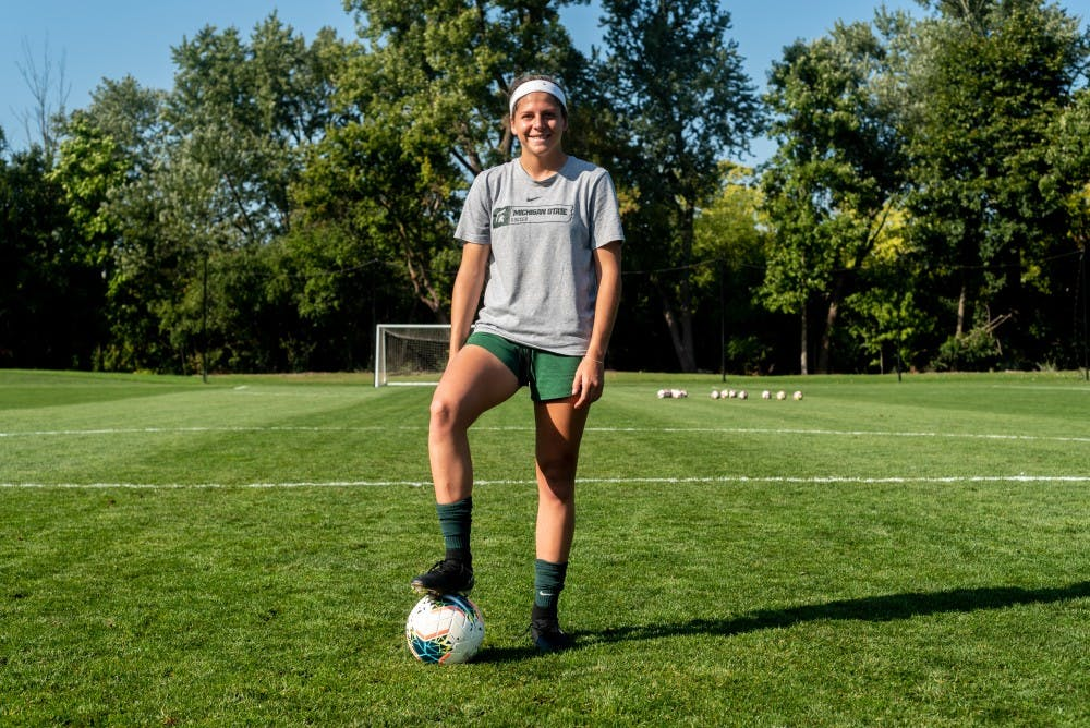 Sophomore forward Gia Whalberg poses for a photo at DeMartin Soccer Stadium on September 30, 2019.