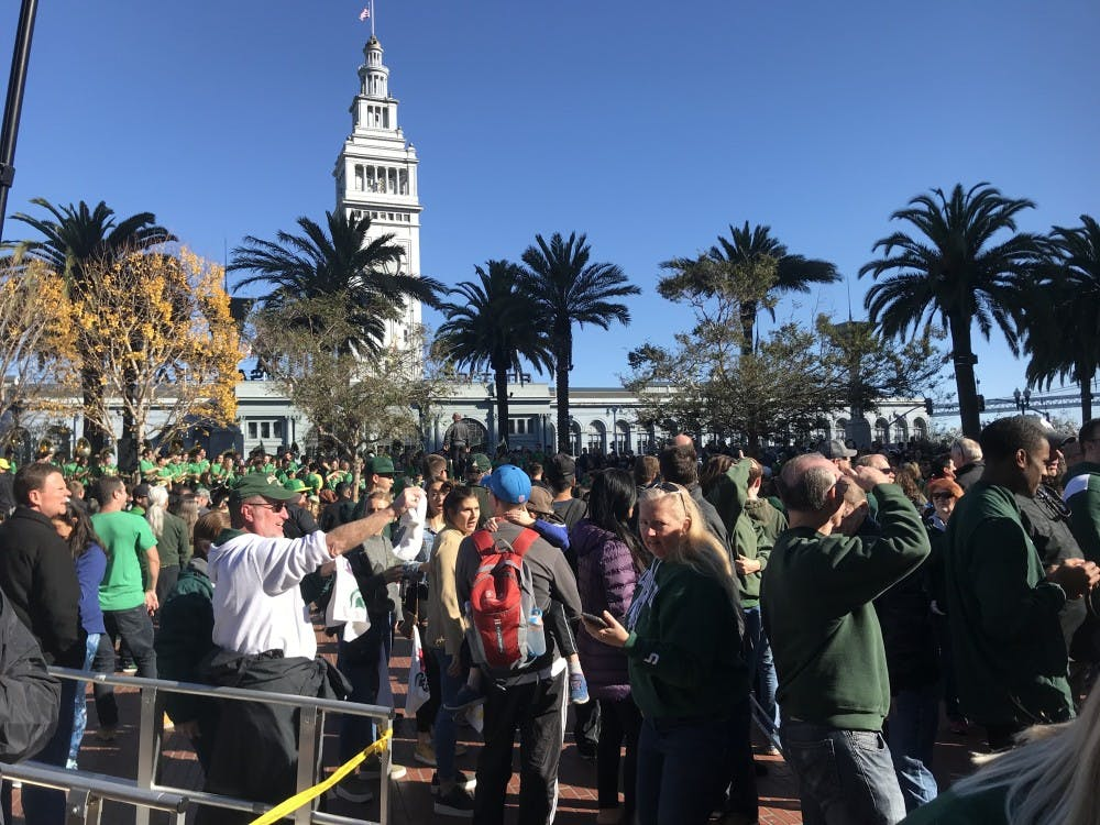 Fans gather in Justin Herman Plaza in San Franciso for the Redbox Bowl Fan Pep Rally on Sunday, Dec. 30, 2018. The Spartans will take on the Oregon Ducks in the Redbox Bowl on Dec. 31.