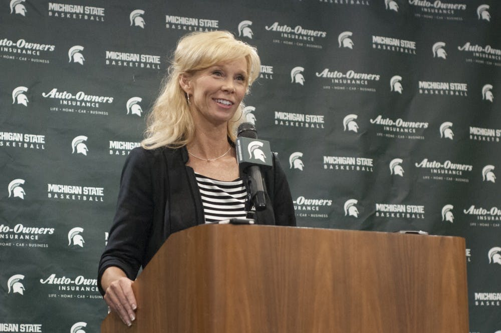 Head coach Suzy Merchant answers a question during Women's Basketball media day on Oct. 19, 2016 in the Breslin Center.