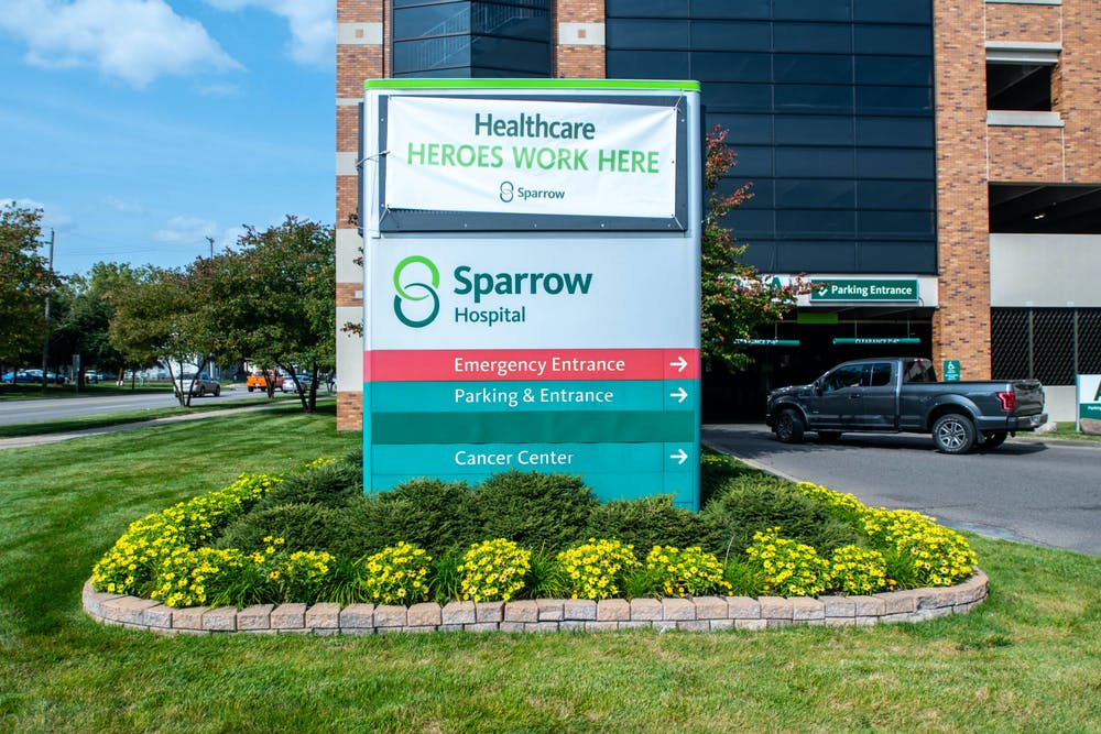 <p>The exterior of Sparrow Hospital in Lansing, Michigan, on Sept. 23, 2020.</p>