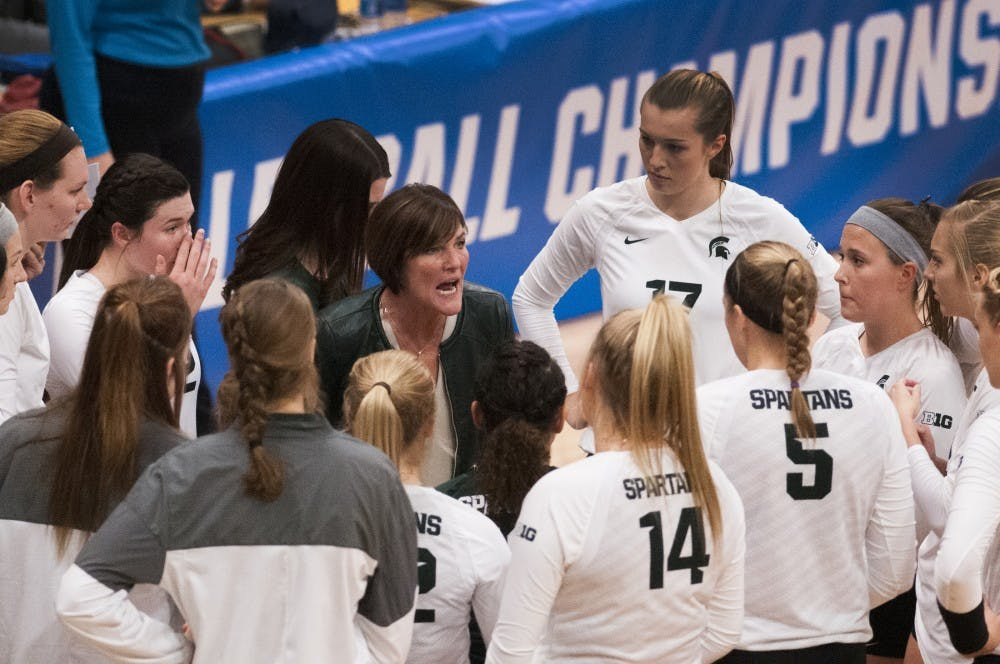 Head coach Cathy George talks to the team during the game against Arizona on Dec. 3, 2016 at Jenison Field House. The Spartans were defeated by the Wildcats, 3-2.